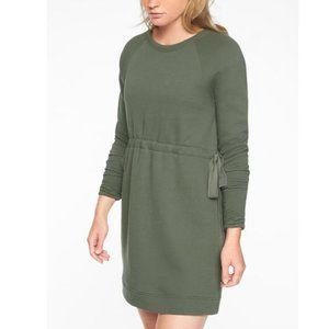 Athleta Studio Cinch Green Crew Sweatshirt Dress